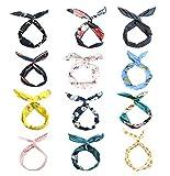 LZYMSZ 12PCS Twist Bow Wired Stirnbänder, Eisendraht Bow verknotete Blume Haarband, Yoga Kopf Wraps Sport Turban, Vintage Printed Criss Kreuz verknotet für Frauen Mädchen (12-color)
