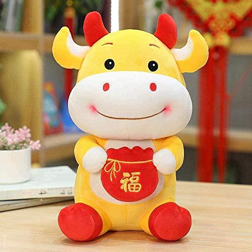 NC87 Juguete de Peluche Año Nuevo Lindo Traje Chino Mascota Vaca de Peluche Traje Chino Bolsa de la Suerte Vaca Juguete de Peluche Año Nuevo Chino Decoración de Fiesta Regalo 22CM Amarillo