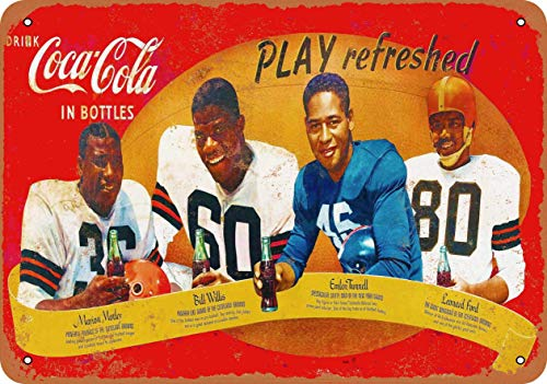 AIFEI 1950s African-American Football Stars Vintage Blechschilder Plakat Metallschilder Plakette Eisenmalerei Retro Wanddekoration für Bar Home Garage Outdoor 12 × 8 Zoll
