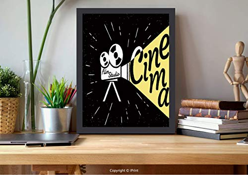 AmorFash №23923 Frame Art Wall,Theater, Projector Sketch with Grunge Cinema Lettering On Black Backdrop, Yellow Black White, Best for Gifts