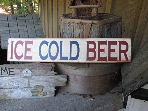 Eiskaltes Bier Holzschild Bier Dekor Mann Höhle Outdoor Dekoration Rustikale Dekoration Rot Weiß Blau Terrasse Bar Deko Hippie Dekor Garage Schild