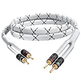 GearIT 14AWG Premium Heavy Duty Braided Speaker Wire Cable (6 Feet) Dual Gold Plated Banana Plug...