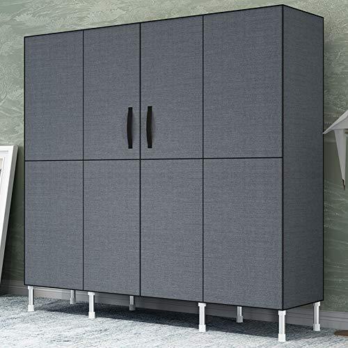 Einfach Kleiderschrank aus Stoff mit Kleiderstange & 6 Fächern, Groß Faltschrank Stabil ideal für Wohnzimmer, Schlafzimmer, Garage, Keller - Dunkelgrau 168x45x175cm