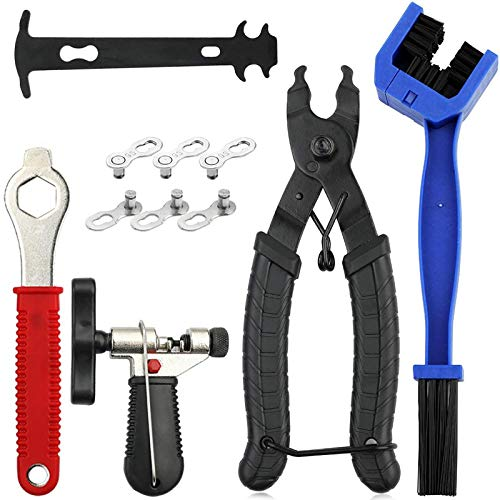 Bike Chain Tool Kit, Bicycle Chain Tool with Bike Link Plier, Bicycle Chain Breaker Splitter, Chain Wear Indicator and Chain Checker, Road Mountain Bike Chain Repair Tools for All Models Bike Chains