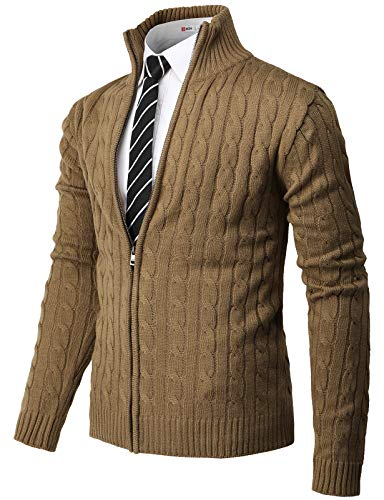 H2H Mens Casual Slim Fit Knitted Cardigan Zip-up Long Sleeve Thermal with Twisted Pattern Beige US 3XL/Asia 4XL (CMOCAL034)