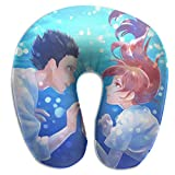XCNGG Anime Koe No Katachi Almohadas en Forma de U Almohada de Viaje portátil para el Cuello Almohada de Viaje de Espuma viscoelástica Suave cómoda y Transpirable para Soporte de Cabeza y Cuello