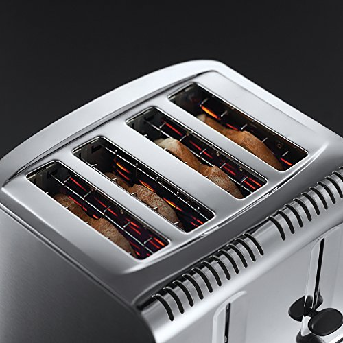 Russell Hobbs 20750 Buckingham 4-Slice Toaster, Polished, 2100 W, Stainless Steel