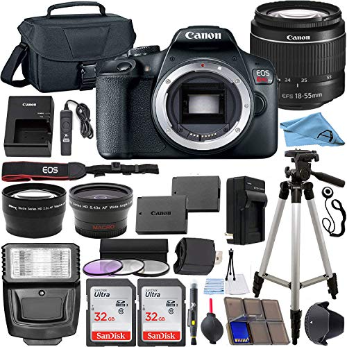 Canon EOS Rebel T7 24.1 MP DSLR Digital Camera with Canon EF-S 18-55mm Lens + 2 pc SanDisk 32GB Memory Cards + Camera Bag + Flash Light + Accessory Bundle