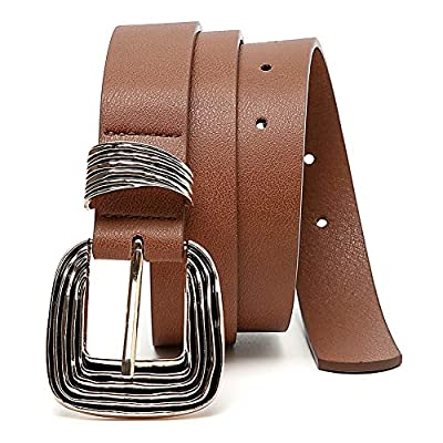 MORELESS Women's Leather Belt for Jeans with Western Design Buckle, Brown Belts for Women
