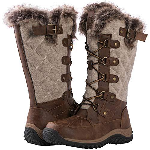 GLOBALWIN Women's 1925 Mid-Calf Fleece Lined Brown/Beige Winter Boots 7M