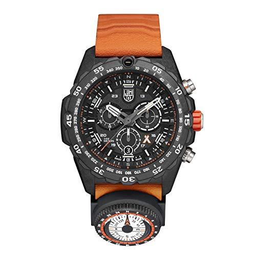Relógio masculino Luminox Bear Grylls Survival Master Series – 3749: 45 mm preto/laranja aço inoxidável feito na Suíça resistência à água 300 m