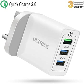 ULTRICS USB Wall Chargers, 3 Port 6A30W USB Plug Chargers, Quick Charge 3.0 Mains Adapter Compatible with iPhone 11 ProXS MaxXRX 8, iPad