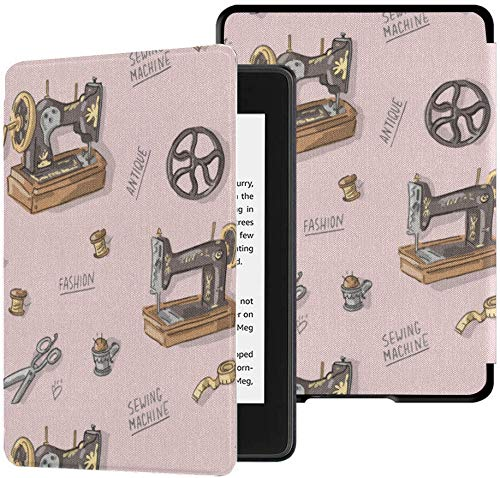 Best Kindle Paperwhite Case Retro Cartoon Sewing Machine Clothing Kindle Case Paperwhite 10th Generation Case with Auto Wake/Sleep Kindle Paperwhite E-Reader Covers for 2018 10th Generation 2018