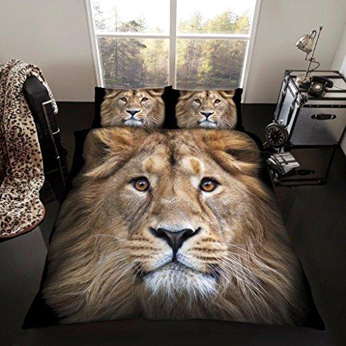 Gaveno Cavailia 3D Animal Printed Duvet Covers Quilt Covers Reversible Bedding Sets with Pillowcases (3D Lion, King Duvet Set)