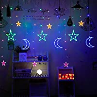 GAFAGAFA LedムーンスターランプストリングライトInsクリスマスライトスカイスタールームライトカーテンランプクリスマスウェディングパーティーの装飾ライトカラフル