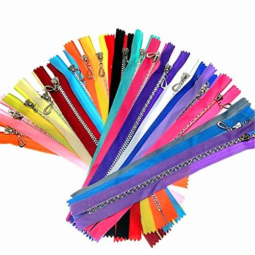 ComGo Mezcla aleatoria de colores de nailon con purpurina de resina de color brillante cremalleras de costura de herramientas de costura de 8 pulgadas accesorios de ropa (mezcla aleatoria, 2 piezas)