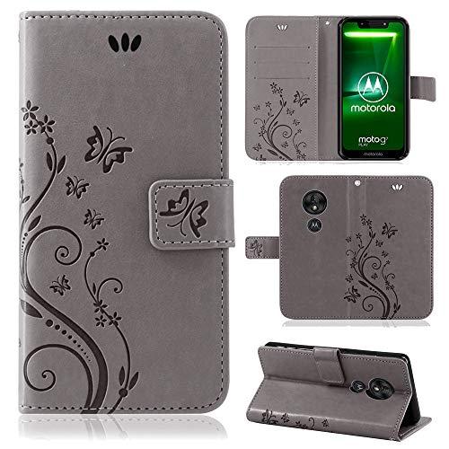 betterfon   Motorola Moto G7 Play Hülle Flower Case Handytasche Schutzhülle Blumen Klapptasche Handyhülle Handy Schale für Motorola Moto G7 Play Grau