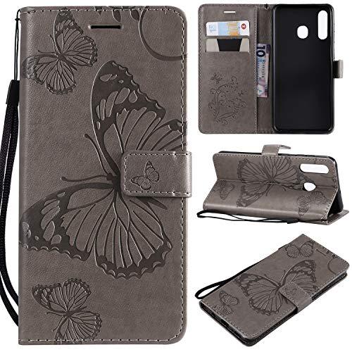 Amocase Wallet Leather Case with 2 in 1 Stylus for Samsung Galaxy A30/A20,Premium Strap 3D Butterfly Magnetic PU Leather Stand Shockproof Card Slot Case for Samsung Galaxy A30/A20 - Gray