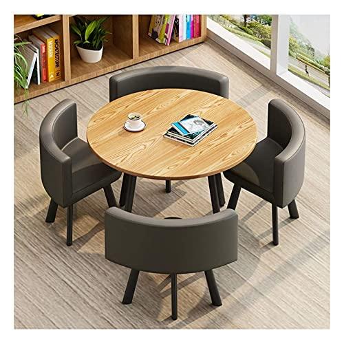 WANGQW Conjunto de Mesa de Comedor para Cocina o decoraci Mesas y sillas de negociación Hogar Moderno Oficina Habitación de té Balcón Recepción Mesa Redonda 1 Mesa y 4 sillas Salón (Color : Gray)