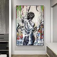 ストリートグラフィティアート現代抽象女性キャンバス絵画ヴィンテージポスタープリントリビングルームの壁アート家の装飾50X70cm20x28インチフレームなし