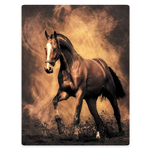 YISUMEI Decke 135x200cm Flauschige Kuscheldecke Weich Flanell Fleecedecke Braunes Pferd