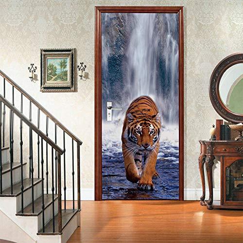 JJDSL Etiqueta de Puerta Vinilos para Puerta Pared Adhesivos Papel de Pared - Tigre de cascada animal - 90x200 cm - para Cocina Baños Dormitorio Infantiles - 3D Autoadhesiva Impermeable Decora