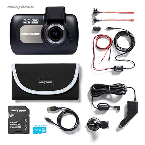 Nextbase 212 1080p HD In-Car Dash Camera Video Recorder, Bundle Kit with Mount, Hardwire Kit, 32GB SD Card and Case