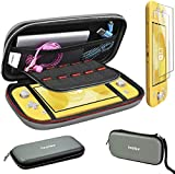 Carry Case for Nintendo Switch Lite with 2 Pack Screen Protector, iVoler Ultra Slim Portable Hard Shell Pouch Travel Game Bag for Switch Lite Console Accessories Holds 10 Game Cards, Grey