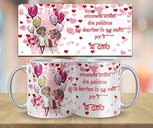 Kembilove Taza de Desayuno para Parejas con Bonitas Frases Únicamente existen 2 Palabras Te Amo - Regalo Original Taza con diseños Coloridos para Enamorados Novios y Novias San Valentín