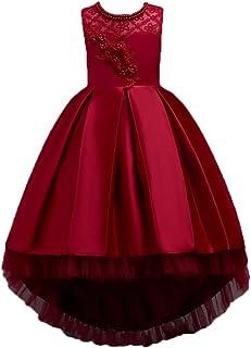 LvRao Girls Princess Dresses High-Low Flowers Lace Tulle Skirt Sleeveless Wedding Pageant Dress