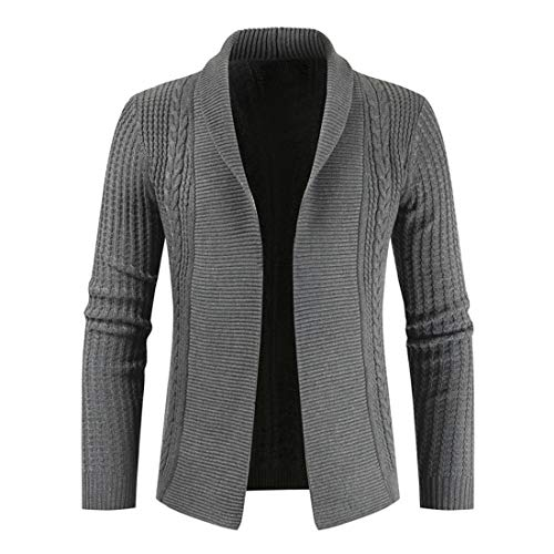 ZYUD Men's Sweater Long Sleeve Cardigan Autumn Classic Long Lapel Plain Lightweight Leisure Cardigan Spring Breathable Casual Solid Color Jumper Knit Jacket Tops Slim Fit Knit Lapel Sweater