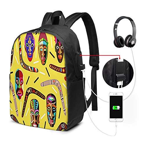 WEQDUJG Mochila para El Laptop para Ordenador del Trabajo Viaje Bumeranes Panorámicos Madera Africana Mochila para El Laptop para Ordenador del Trabajo Viaje