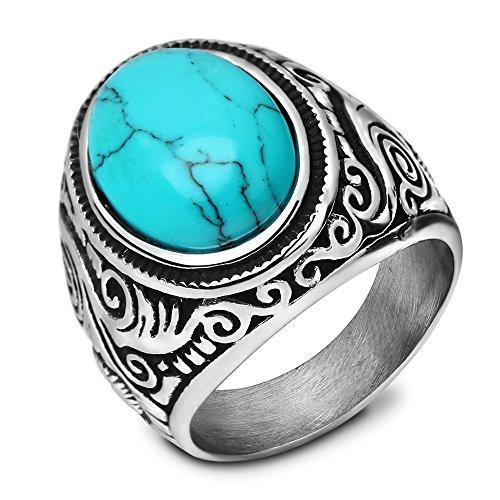 VQYSKO Retro Vintage Statement Blue Oval Turquoise Rings Size 9