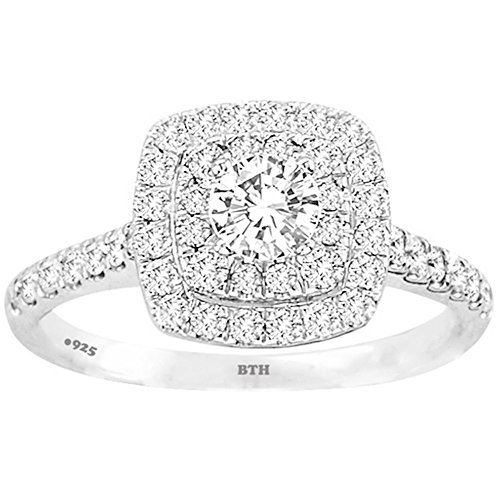 BestToHave Ladies Ring -925 Sterling Silver Dazzling Round-Cut Simulated Diamond A Stunning Wedding Engagement Bridal Ring Z+2