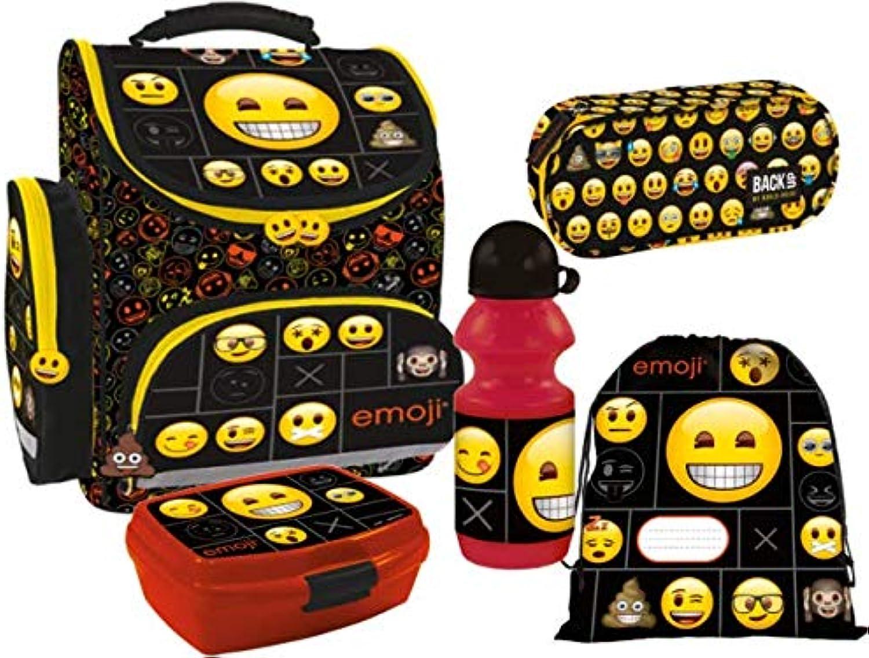 Emoji Smiley Schulranzen-Set Schulranzen, Federmppchen, Sportbeutel, Trinkflasche, Brotdose 5-teiliges Set