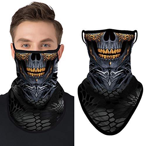 Joeyoung unisex Bandana, Gesichtsmaske, Schal,Sturmhaube, Schlauchschal, Staubschutz-Halstuch, waschbar, windabweisend, Motorradmaske, für Damen und Herren, 3D-Schädel 4