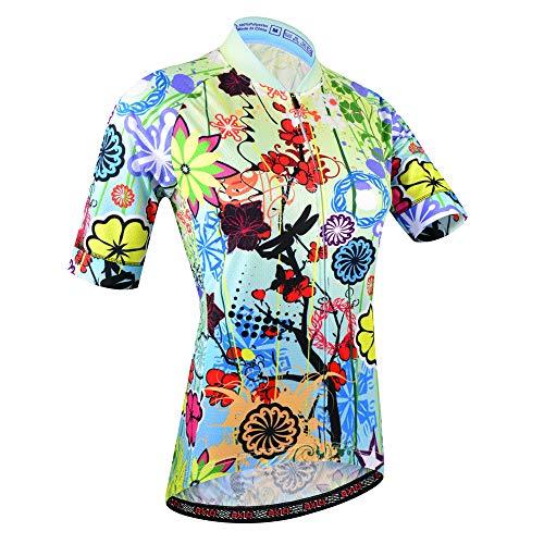 BXIO Fahrradtrikot für Damen, atmungsaktives Fahrradtrikot für den Sommer (Flower(187jerseys only), XL)