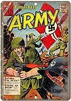 Fightin 'Army November Comic Book Coverバー、書斎、リビングルーム、ダイニングルーム、ベッドルーム、カフェのレトロなティンメタルサイン