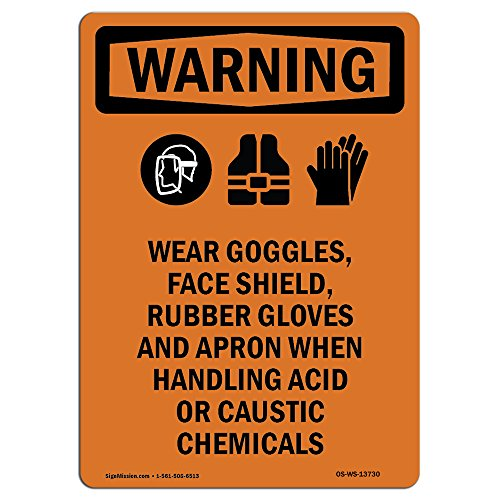 OSHA Warning Sign - Wear Goggles, Face with Symbol | Peel and Stick Wall Graphic | Protect Your Business, Class Room, Office & Interior Surroundings | Made in The USA
