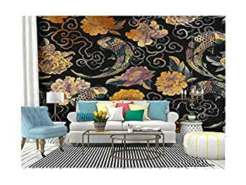 Self Adhesive Wallpaper Roll Paper Beautiful trendy Japanese in tattoo style Seamless with asian Removable Peel and Stick Wallpaper Decorative Wall Mural Posters Home Covering Interior Film