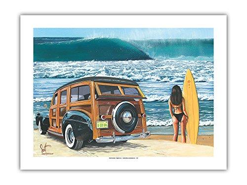 Pacifica Island Art Vaya Chica - Coche Woodie Retro en la Playa...