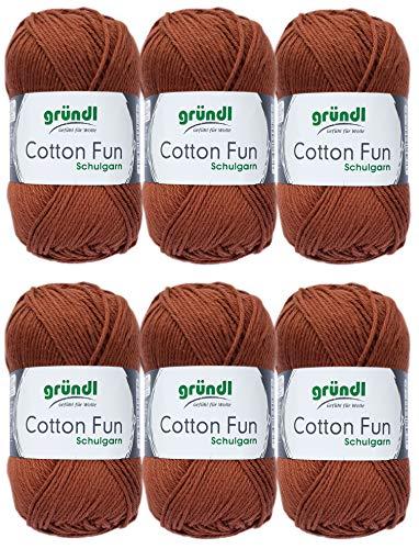 Gründl Cotton Fun Wolle Set 6x 50 Gramm Braun 14 aus 100% Baumwolle