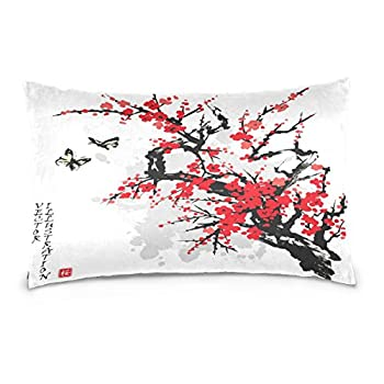 ALAZA Asian Japanese Cotton Standard Size Pillowcase 26 X 20 Inches Twin Sides Cherry Blossom Tree Branches Pillow Case Sham Cover Protector Decorative for Couch Ded