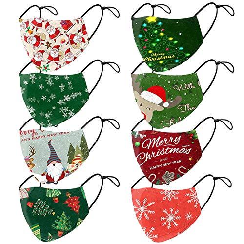 WEVGOUO 8 Stück Unisex Mundschutz, Weihnachtsmasken mit Motiv Weihnachten 3D Druck Lustig Motive, Mund und Nasenschutz