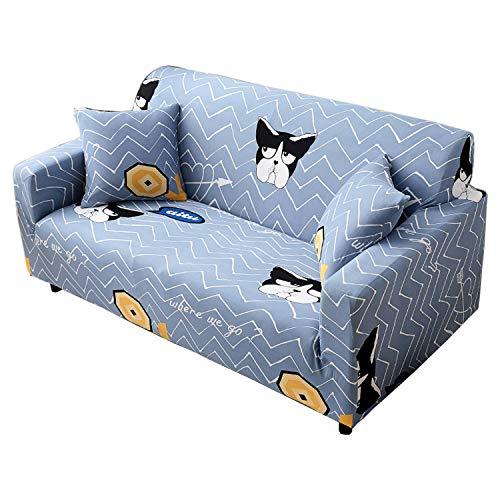 BHAHFL Fundas elásticas para sofá de 1 Pieza - Fundas para sofá con Estampado de poliéster y Spandex - Funda/Protector para Muebles para sofá con Base elástica,D,1Seater