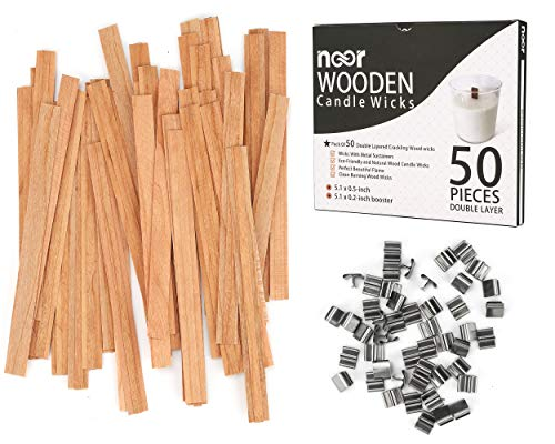 50 Pcs Double Layered Crackling Wooden Candle Wicks with Clips - Eco Friendly and Natural Wood Wicks for Candle Making - Clean Burning Wood Candle Cores - Perfect Beautiful Flame