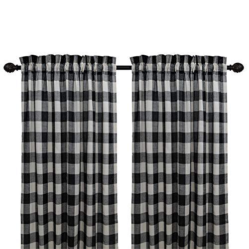 Creativesfun Farmhouse Light-Filtering Rod Pocket Buffalo Check Plaid Gingham Window Curtain Treatments Rod Pocket Checks Line Up Set (Black & White, Panel 丨W53 X L84-INCH 2PCS)