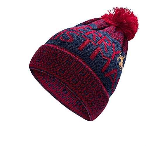 GUOQUN-SHOP Gorro Sombrero de Invierno for Mujer Gorra de Gorro de Punto for Mujer con Sombreros Pom Pom Clásico (Color : Wine, Size : One Size)