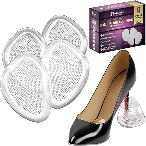 Premium Extra Soft Metatarsal Pads for Women, Reusable Ball of Foot Cushions for Rapid Pain Relief, Prevent Blisters and Calluses, Fits Any Shoes, 4 Invisible Pads