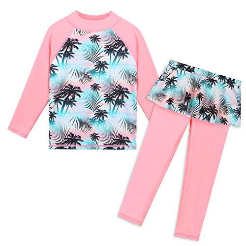 HUAANIUE Mädchen-Badeanzug, langärmelig, Sommer-Druck, Blume, Sonnenschutz, LSF 50+ Gr. 5-6 Jahre, Grünrosa